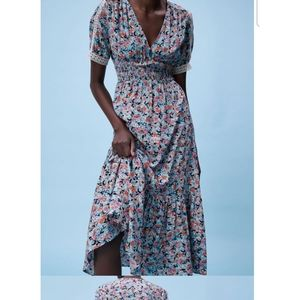 (New) Zara floral midi dress with lace detailing